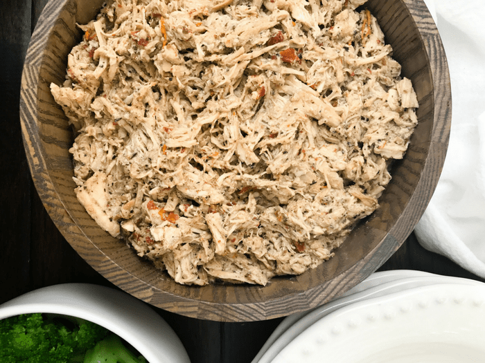 Slow Cooker Italian Pulled Chicken by The Whole Cooker HORIZONTAL FEATURE