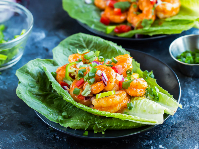 Buffalo Shrimp Lettuce Wrap Tacos by Peas and Crayons