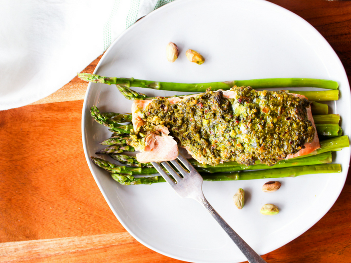 Pistachio Herb Crusted Salmon with Asparagus