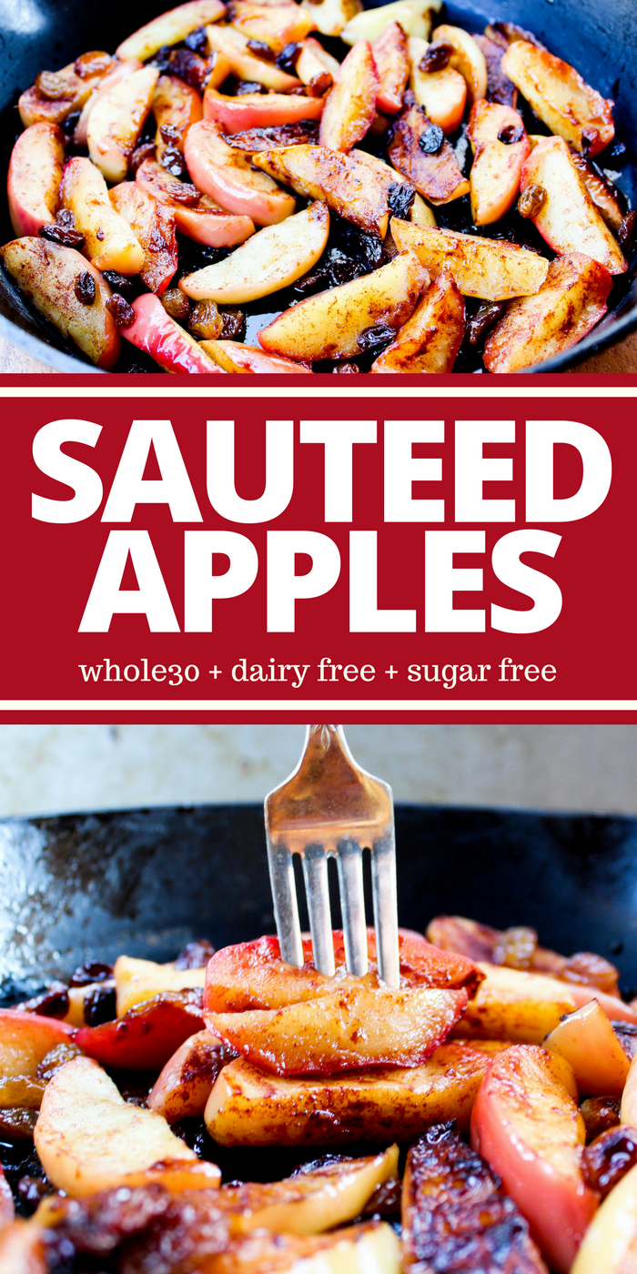 These Sauteed Apples are naturally sweet and prepared simply with coconut oil, cinnamon, and raisins. They're a hit with children and adults alike. Plus they're sugar free, dairy free, Whole30, and gluten free!