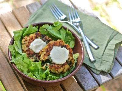Quinoa Potato Cakes Florentine in a salad