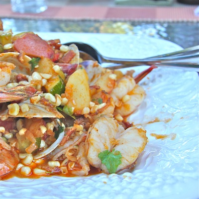 Corn Stew with Shrimp and Clams Side 400: The Wimpy Vegetarian