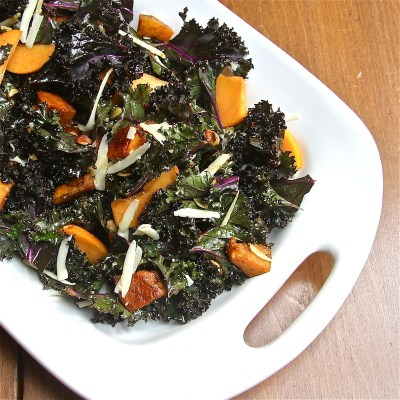 Kabocha Kale Salad with Persimmons : The Wimpy Vegetarian