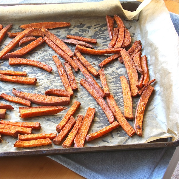 Spiced Sweet Potato 'Fries' fresh from the oven - The Wimpy Vegetarian