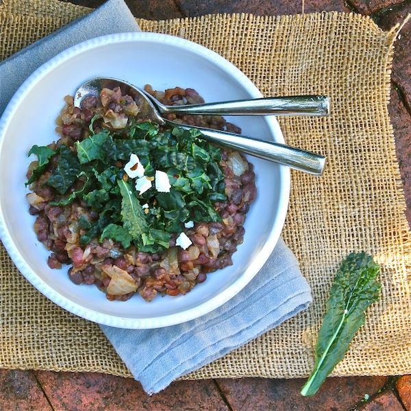 Legumes healthy dish with adzuki beans, bacon, miso and kale