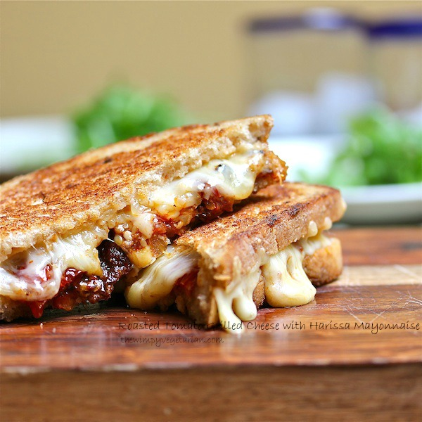 Grilled cheese sandwich with roasted tomatoes and harissa mayonnaise, vegetarian, omnivore option, kid-friendly
