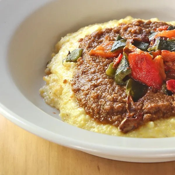 Cheesy Polenta with Mole and Roasted Peppers 600, The Wimpy Vegetarian