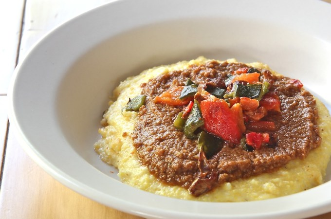 Cheesy Polenta Topped with Mole & Pepper Relish