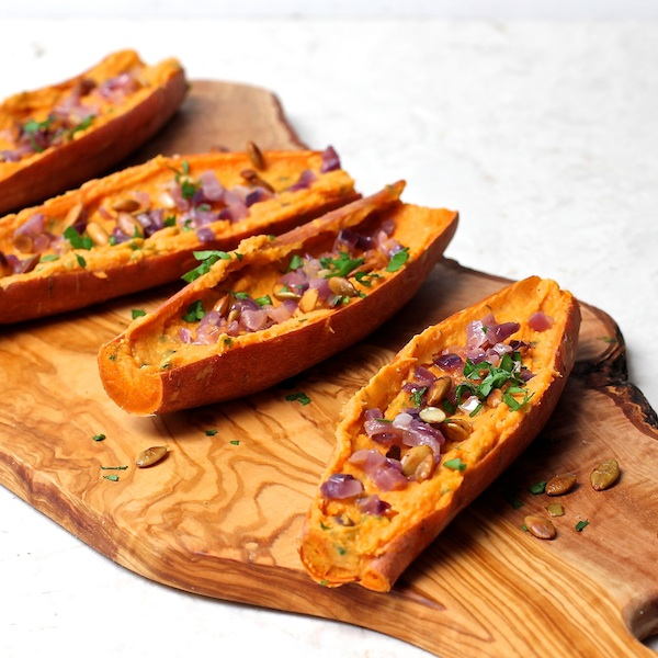 vegetarian snack, appetizer, sweet potato skins with cheese and red onions, The Wimpy Vegetarian