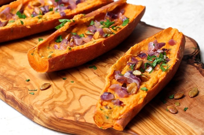 Sweet Potato Skins with Caramelized Onions