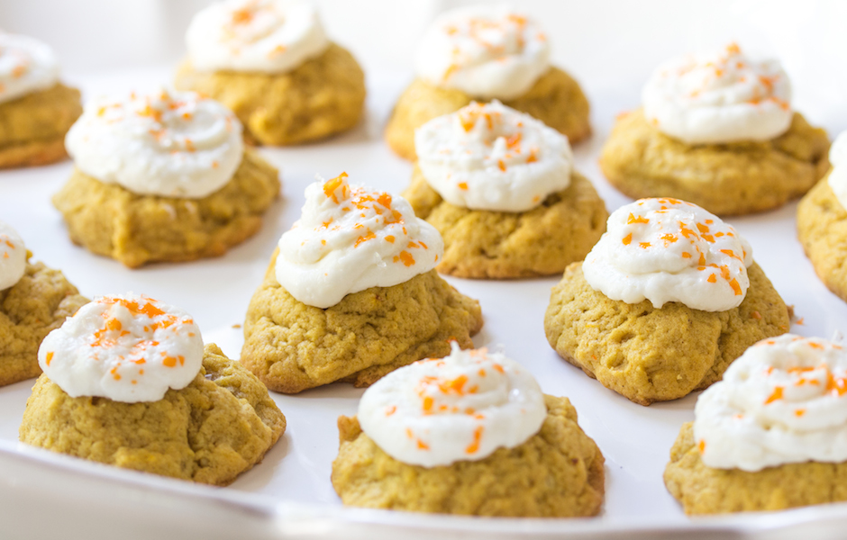Pumpkin Coconut Cookies with Cream Cheese Icing