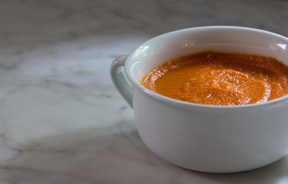Vegan Ginger-Carrot Soup with coconut milk.