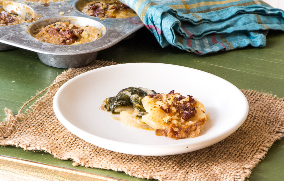 Mini-potato gratins layered with cheese and mustard greens, topped with bread crumbs.