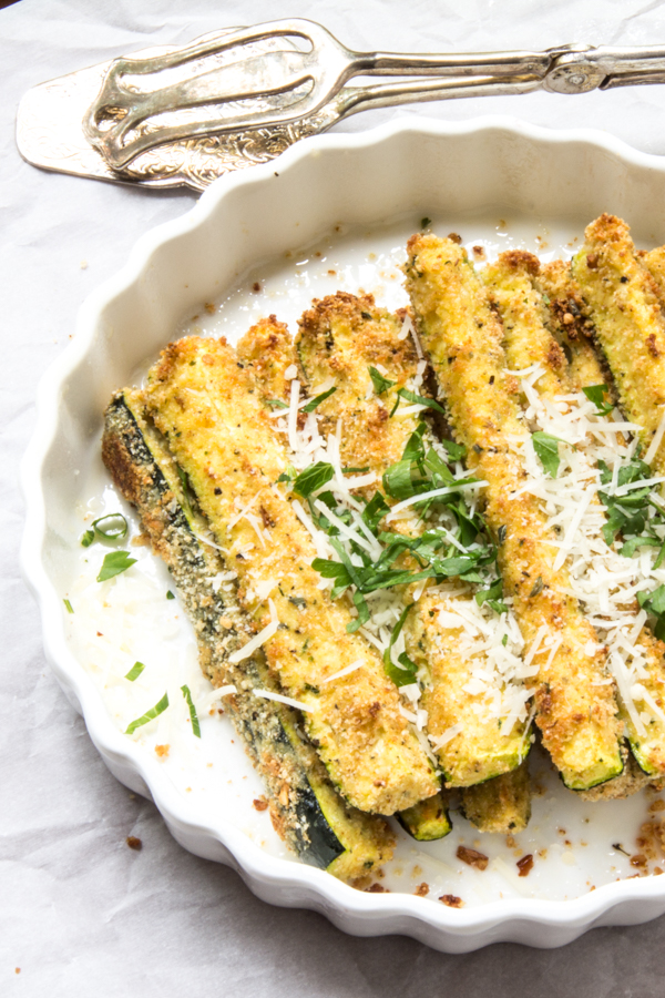 Easy side dish for Secret Recipe Club : Baked zucchini sticks coated ...