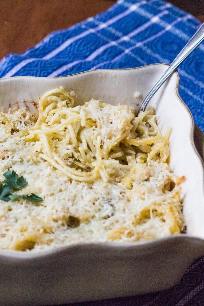 Cauliflower Tetrazzini with Poblano Peppers lightened with yogurt