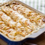 Celery Root Potato Gratin with Horseradish Cream and Barley