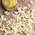 Fluffy popcorn tossed with olive oil, seasoned salt, and nutritional yeast.