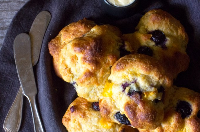Einkorn Drop Biscuits with Peaches and Blueberries   #BreadBakers