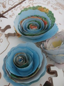 paper flowers made of maps