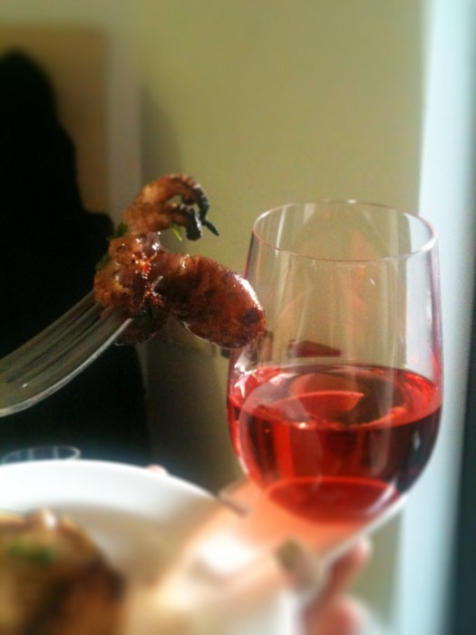 Tiny grilled octopus (paired with a Prieure de Montezargues Tavel Ros 2011) 