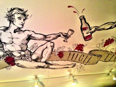 Bacchus looks down on us, the ceiling of one of High Timber's private dining rooms