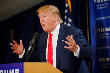 Donald Trump at a political rally. Credit : Michael Vadon