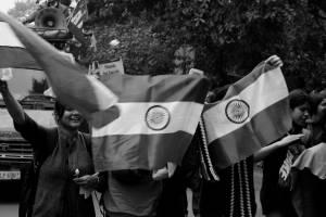 The national flag held aloft at the demonstration for Kanhaiya Kumar. Credit: Shome Basu