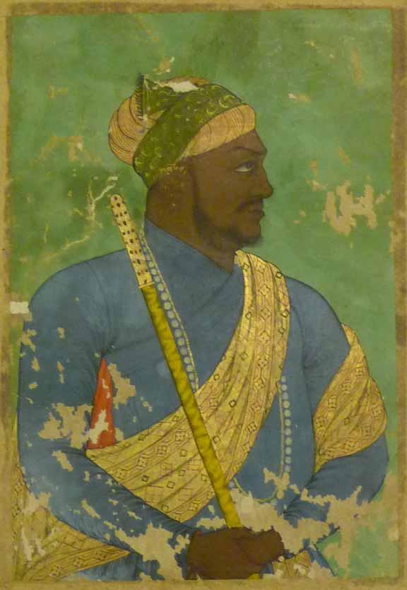 Ikhlas Khan, African prime minister of Bijapur, c. 1650, Credit: Johnson Album 26, no. 19, British Library. Public Domain.