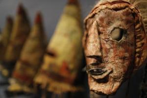 A rare antique tribal mask, Kachina Hapota, circa 1910-1920, revered as a sacred ritual artefact by the Native American Hopi tribe in Arizona is displayed at the Drouot auction house in Paris before auction, December 9, 2013. Credit: Reuters/Christian Hartmann