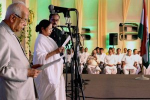 Mamata Banerjee being sworn in as chief minister of West Bengal by Governor Keshari Nath Tripathy. Credit: PTI