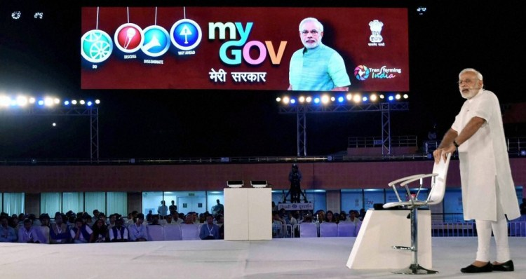 New Delhi: Prime Minister Narendra Modi speaks at the 2nd Year Anniversary celebrations of MyGov, in New Delhi on Saturday.PTI Photo(PTI8_6_2016_000208B)