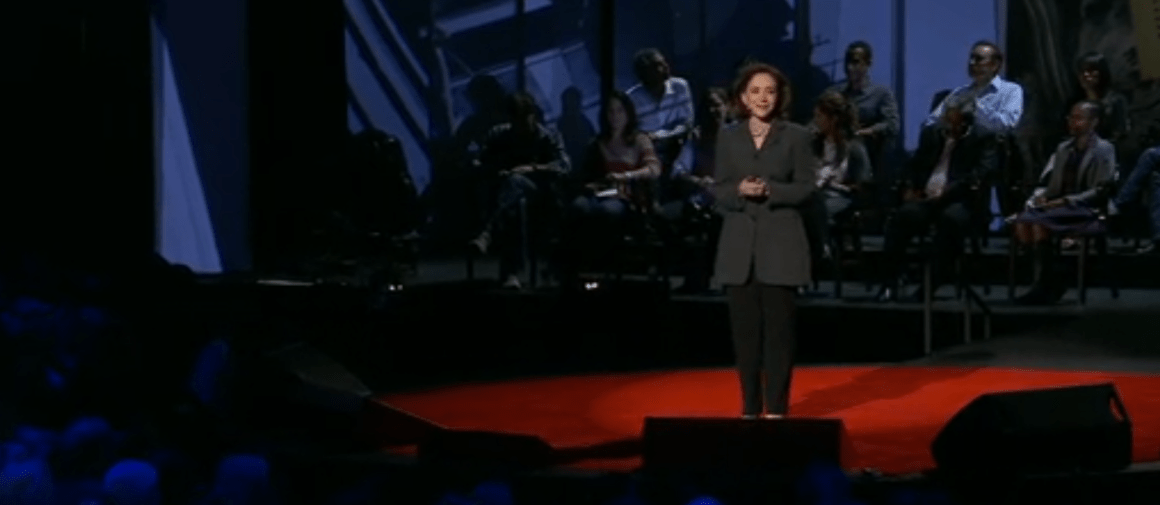 Sherry Turkle delivering her TED talk. Source: TED