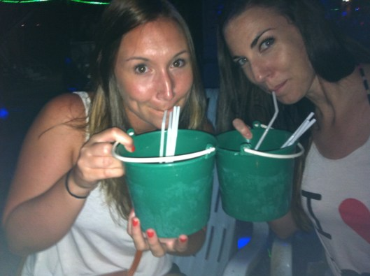 Annie and I Drinking Buckets