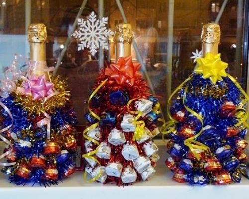 Как сделать новогоднюю бутылку шампанского конфетами