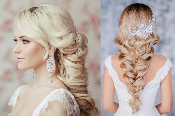 Свадебные причёски на длинные волосы под фату