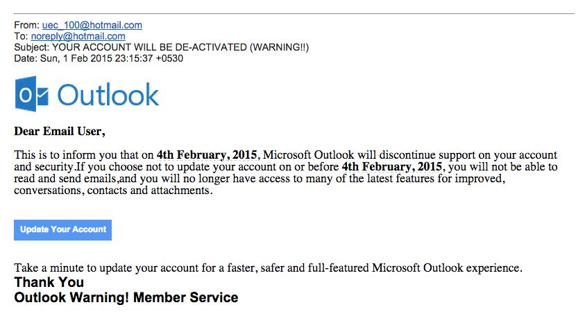 Beware of Outlook.com PHISHING SCAM