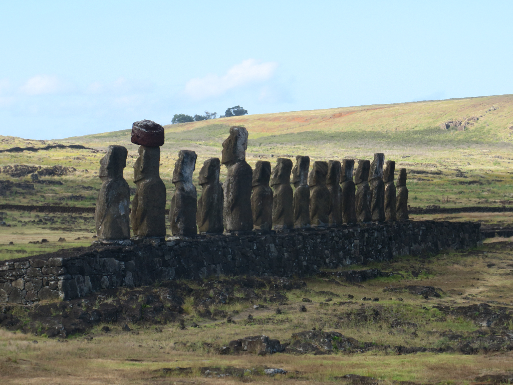 Tongariki Moai Statue Carving earthquake Easter Island, Rapa Nui, Hanga Roa, Isla de Pascua, Chile, South America