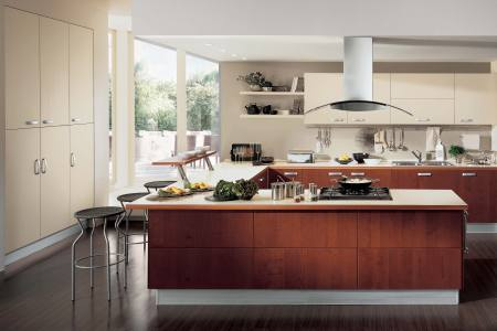 cool contemporary kitchen design ideas with corner bay window and u shaped kitchen island feats high tech electric stove top