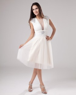 Rousing Scoop Crystal Detailing Tulle Ivory Cocktail Dress Cocktail Dresses Weddings Cocktail Dress Wedding Cocktail Dress Wedding Guest