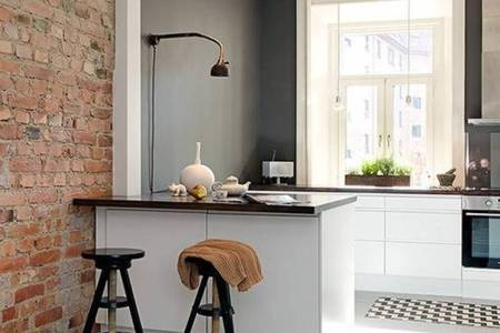 interior brick wall accent also cool kitchen design idea small kitchen with cozy barstool and white base cabinets
