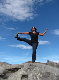 Balancing poses are good to calm excess Vata. Photo: YLB Reader Jane Duncan at Castle Rocks in Arthurs Pass