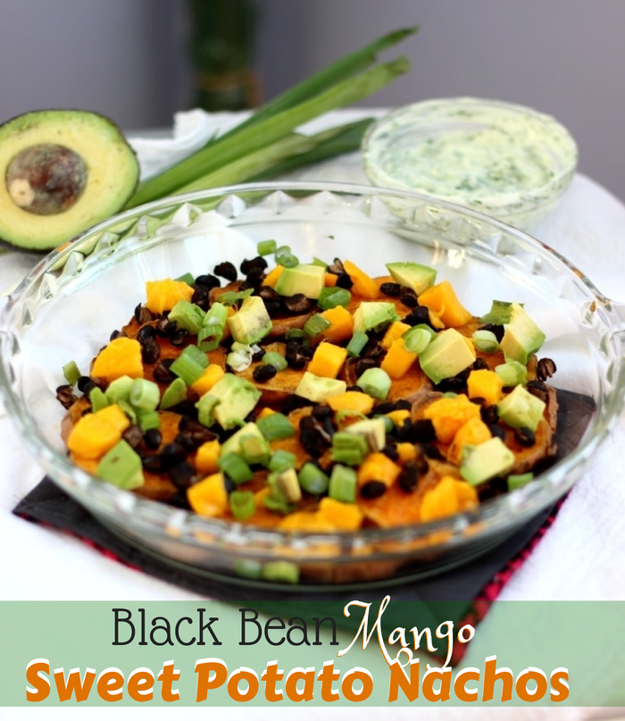 Black Bean Mango Sweet Potato Nachos with Greek Yogurt Sauce