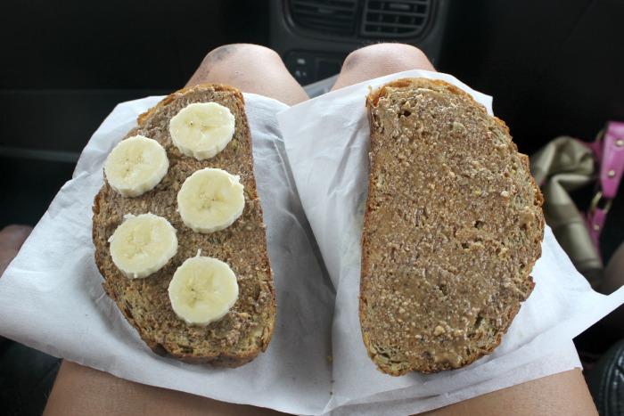 on the go dinner - almond butter banana sandwich