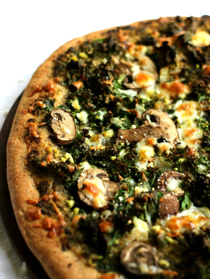 whole wheat pizza with pesto
