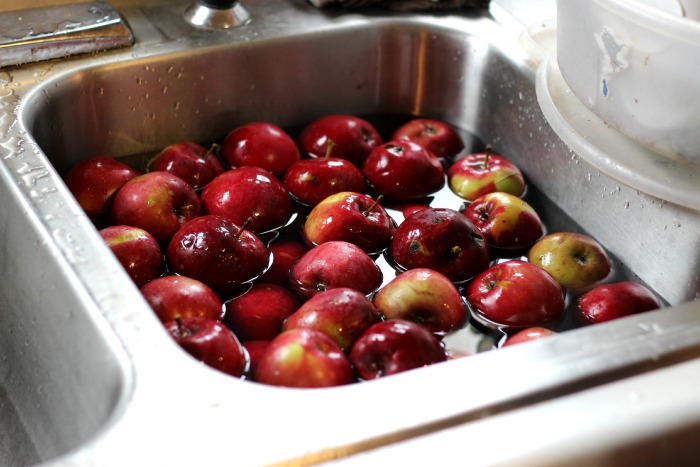 apples in the sink