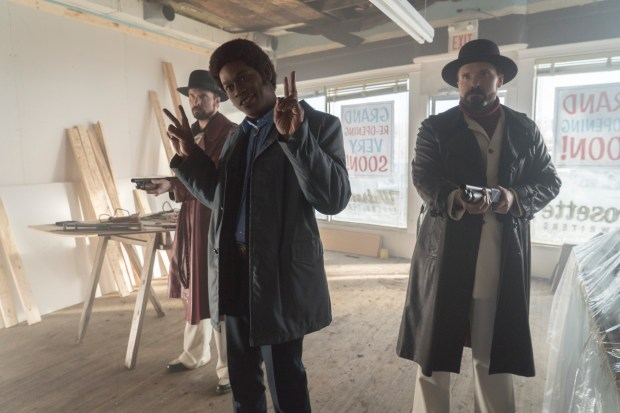 FARGO -- ÒThe Myth of SisyphusÓ -- Episode 203 (Airs October 26, 10:00 pm e/p) Pictured: (l-r) Brad Mann as Gale Kitchen, Bokeem Woodbine as Mike Milligan, Todd Mann as Wayne Kitchen. CR: Chris Large/FX