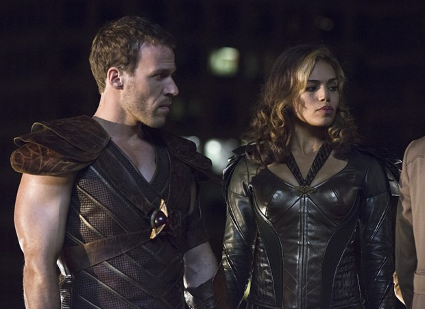"""DC's Legends of Tomorrow -- """"Pilot, Part 1"""" -- Image LGN101d_0180b -- Pictured (L-R): Falk Hentschel as Carter Hall/Hawkman and Ciara Renee as Kendra Saunders/Hawkgirl -- Photo: Jeff Weddell/The CW -- © 2015 The CW Network, LLC. All Rights Reserved."""