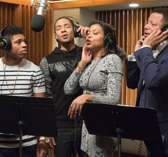 """EMPIRE: The Lyon family comes together to record a legacy album in the """"The Lyon's Roar"""" episode of EMPIRE airing Wednesday, Feb. 25 (9:01-10:00 PM ET/PT) on FOX. Pictured L-R: Bryshere Gray, Jussie Smollett, Taraji P. Henson and Terrence Howard. ©2015 Fox Broadcasting Co CR: Chuck Hodes/FOX"""
