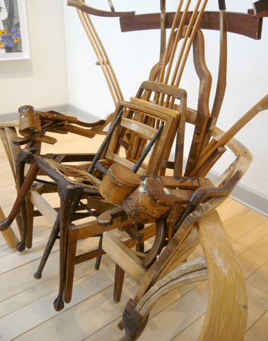 """""""Throne For The Greatest Rapper Of All Time"""" (detail) 2005  Found Wood Furniture 96""""h 69""""w 48""""d"""