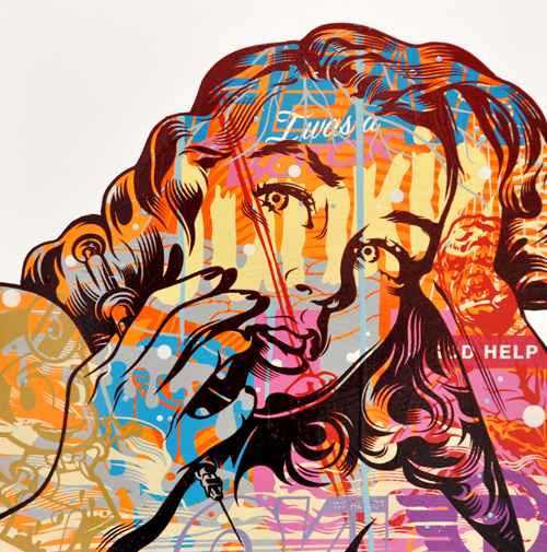 TrustoCorp :: Trusto Pulp (I Was A Botox Junkie) Mixed media on wood panel, 18x18
